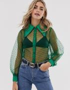 Dusty Daze— Gennemsigtig skjorte med ballonærmer og prikker-Grøn