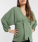 ASOS DESIGN Maternity - Kakifarvet kimono-top med store ærmer og dyb v...