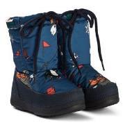 Dolce & Gabbana Cartoon Print Snow Boots Blue 37 (UK 4)