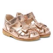 Angulus Rose Gold Leather Bow Closed Toe Sandals 25 (UK 8)