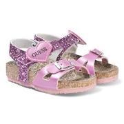 Guess Pink Glitter Cross Strap Sandals 34 (UK 1.5)