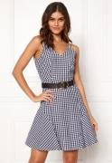 BUBBLEROOM Sienna flounce dress Black / White / Checked 34